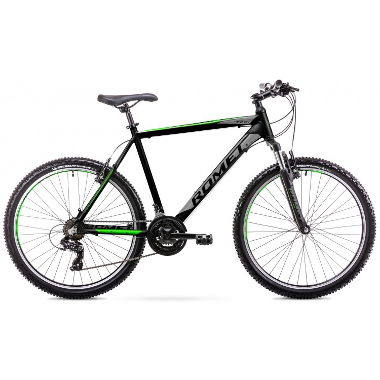 "Horský bicykel 26"" Romet Rambler R6.1 Hliníkový 19"" Čierno-zelený"