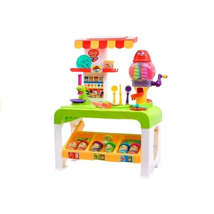 Stolík s plastelínou - obchod s koláčmi