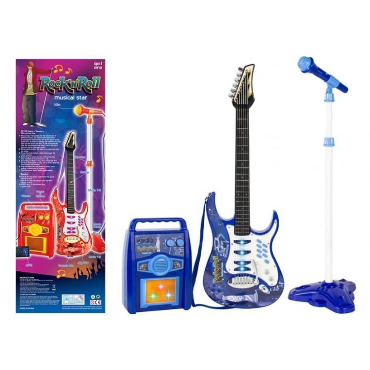 Gitara s mikrofónom a zosilňovačom - modrá