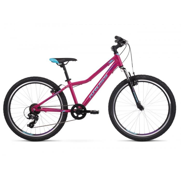 Detský bicykel 24 Kross Lea JR 1.0 Ružovo-modro-fialový lesklý
