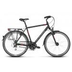 Trekingový bicykel 28 Kross Trans 5.0 Pánsky M Čierno-červeno-strieborný matný