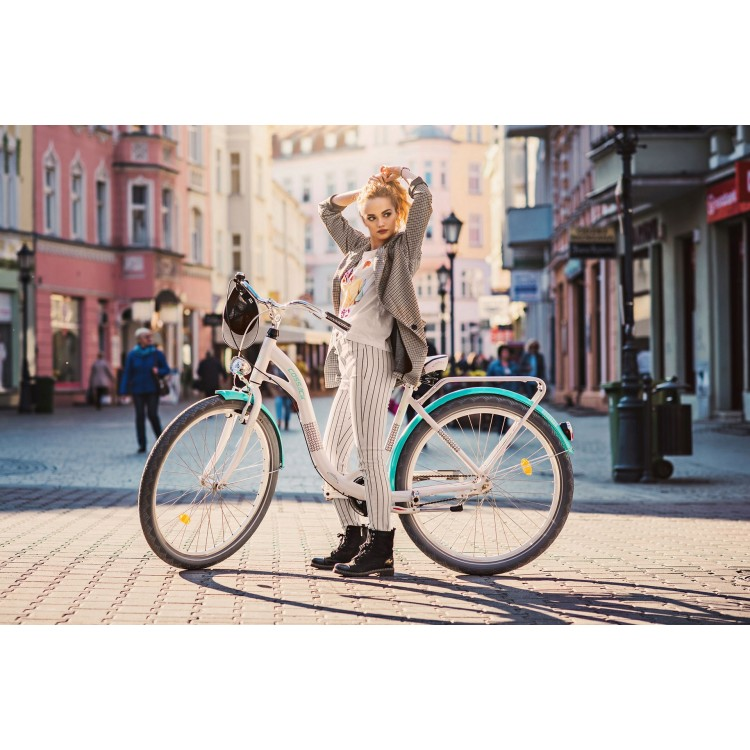 """Dámsky retro bicykel Hliníkový 28"""" Cossack Exclusive 3-prevodový [A] Bielo-tyrkysový"""
