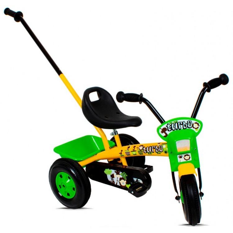 Detská trojkolka s rúčkou Turbo žlto-zelená