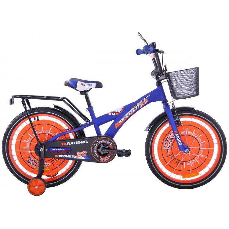 Detský bicykel 20 Fuzlu Racing Sport modro-oranžový