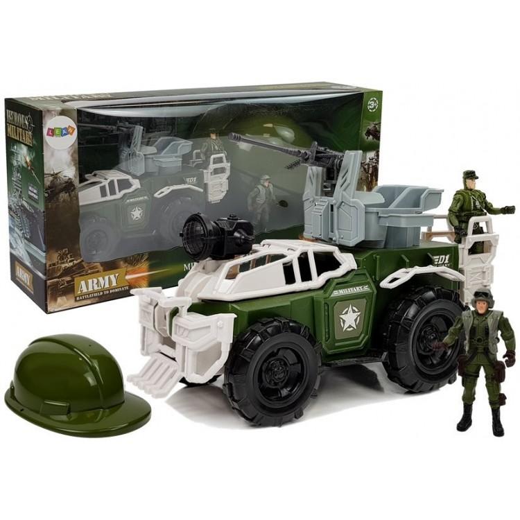 Vojenské vozidlo s vojakmi + helma