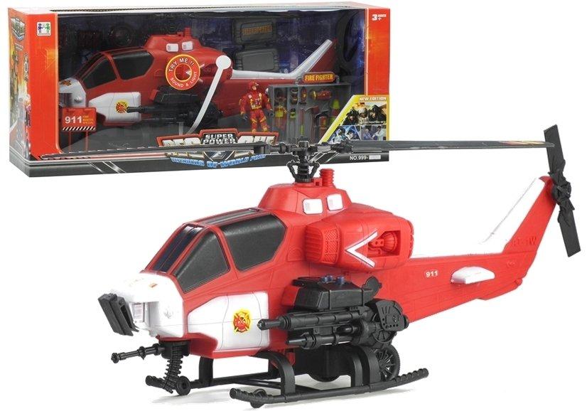 Hasičský záchranársky vrtuľník s hasičom